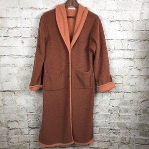 Bryn Walker Long Fleece Duster Cardigan Coat Small